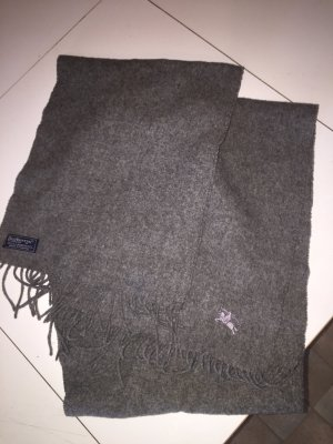Burberry Scarf Grey 100% Lambswool Embroidered