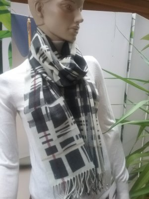 Burberry Fringed Scarf black-natural white