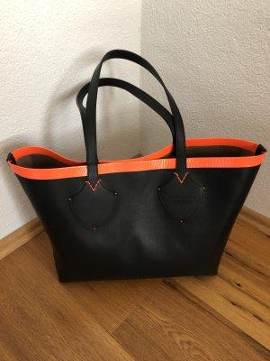 Burberry Shopping Bag Tote Black Neon Orange