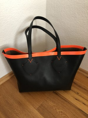 Burberry Shopping Bag Tote Black Neon Orange wie neu!!!