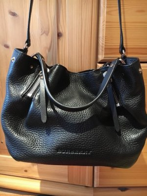 Burberry small zip tote kleine schwarze Leder Tasche