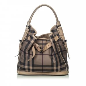 Burberry Smoke Check Coated Canvas Shoulder Bag