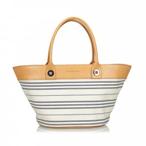 Burberry Stripes Canvas Shoulder Bag