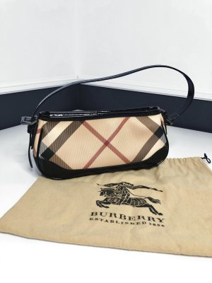 BURBERRY Tasche Nova Check Canvas mit Lackleder • NP 800€