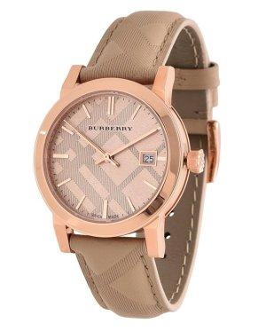 Burberry Uhr beige roségold original NEU Armbanduhr Lederarmband original NP 550€