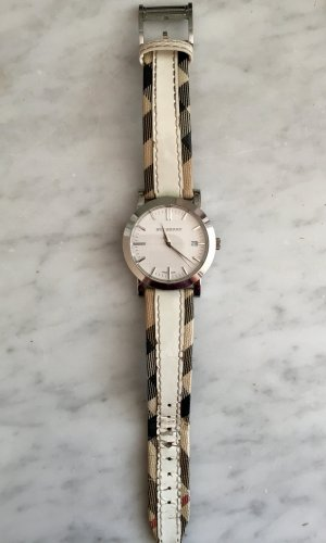 Burberry Uhr, Burberry Muster, weiß