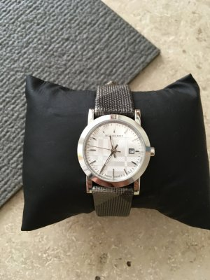 Burberry Watch With Leather Strap silver-colored leather