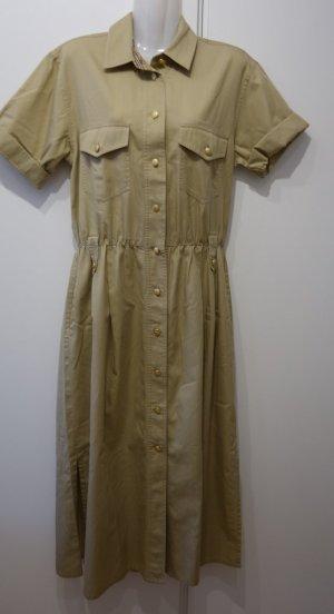 Burberry UK true Vintage Maxikleid Safarilook Gr. 38 helles beige Mantelkleid