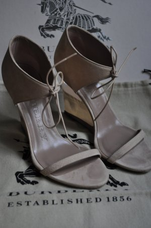 Burberry Wedge Sandals oatmeal leather