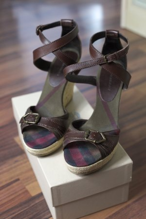 Burberry Platform Sandals brown leather