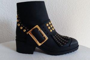 Burberry, Whitchester Ankle Boots mit Nieten, schwarz, gummiertes Leder, 41, neu, € 1.200,-