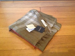 Burberry Willow Brown Giant Check Wool Silk Crinkled Gauze Scarfe