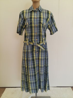 Burberrys' Shortsleeve Dress yellow-pale blue cotton