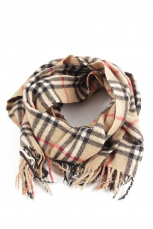Burberrys' Fringed Scarf check pattern casual look