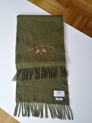 Thomas Burberry Fringed Scarf olive green