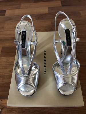 Burberry Platform Sandals silver-colored leather