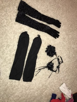 Burlesque Set mit Halsband, Haarteil & 2 x Handschuhe neu schwarz