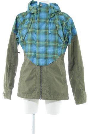 Burton Kapuzenjacke khaki-neonblau Karomuster Casual-Look
