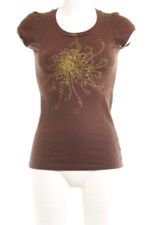 Burton T-Shirt braun-gelb abstraktes Muster Logoprint
