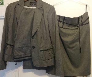 Business Anzug 38/40 - 3 teilig - grau-schwarz - reduziert!