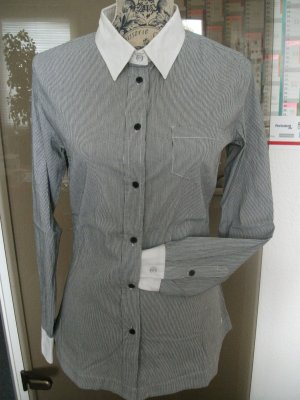 Business Bluse gestreift mit weißem Kragen + Manschetten, Gr. 38