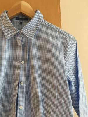 Business Bluse in blau / weiss