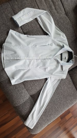 Business-Bluse weiß-hellbau