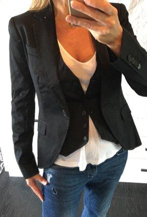 Business Classic Blazer Zara und Weste H&M schwarz 36 S neu Office Büro