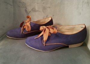 Lace Shoes cognac-coloured-blue