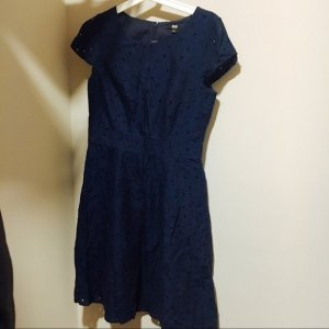 Business Kleid Blumen Navy Uniqlo XS 34