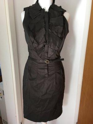 Business Kleid Gr. 34 XS dekorativer Kragen khaki graubraun