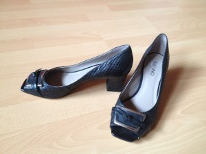 Business Pumps Via Uno Peeptoes Leder schwarz in Reptilienoptik
