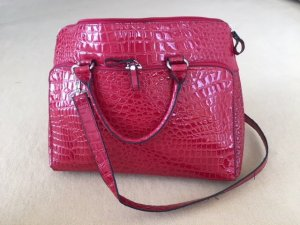 Laptop bag red-silver-colored imitation leather