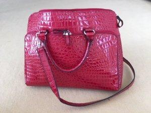 Sacoche d'ordinateur rouge-argenté faux cuir