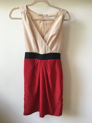 Businesskleid in creme/rot