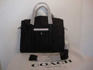 Coach Laptop bag black-silver-colored leather