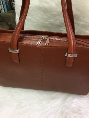 KNOMO London Laptop bag brown-silver-colored leather