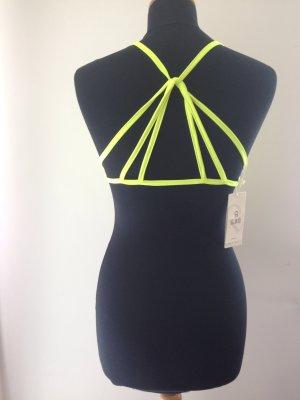 bustier Crop strings geschnürt sexy back neon gelb Sommer Festival
