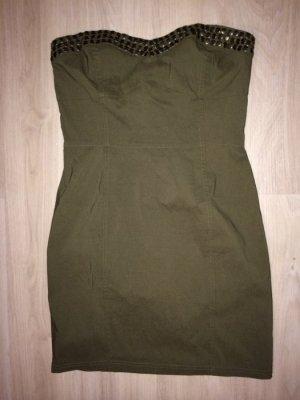 Bustier Kleid Größe 36 khaki mit Nieten Figurbetont