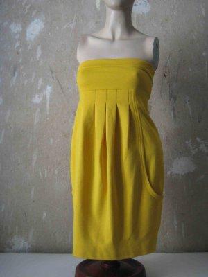 H&M Premium Vestido bustier amarillo Algodón