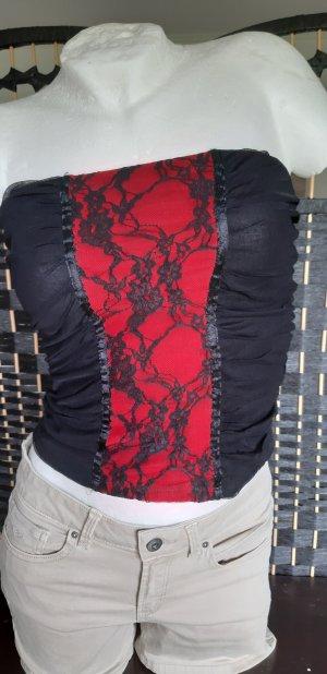 Jennifer Taylor Top tipo bustier negro-rojo