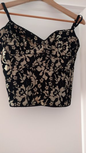0039 Italy Blouse Top black-gold-colored cotton
