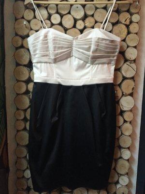 H&M Vestido bustier crema-negro