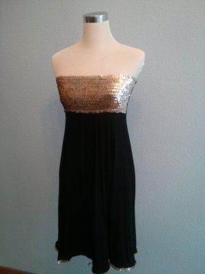 Bustierkleid ohne Träger Pailletten schwingender Rock schwarz gold