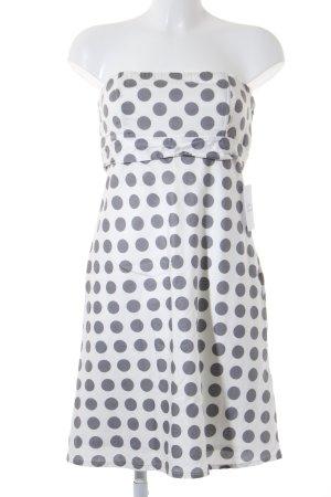 Bustierjurk wit-grijs gestippeld patroon klassieke stijl