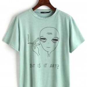 """But is it Art?"" mintgrünes Alien Shirt Gr. L Neu!"