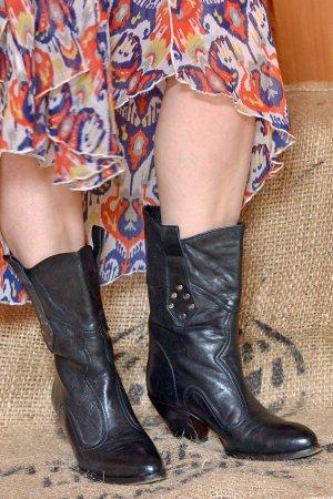 BUTTERO Slouch Cowboy Boots Leder 37 Vintage 70er Western Westernboots Grau