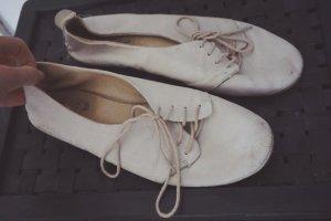 Butterweiche Leder Schuhe weiß-creme weich flach Schnürschuhe Halbschuhe 39