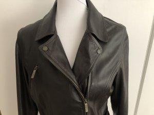 Butterweiche schwarzbraune Lederjacke mit Gürtel von Gant