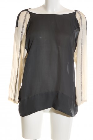 by Malene Birger Langarm-Bluse schwarz-creme Business-Look